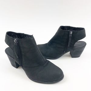 FRANCO SARTO Suede Open Heel Humble Ankle Booties